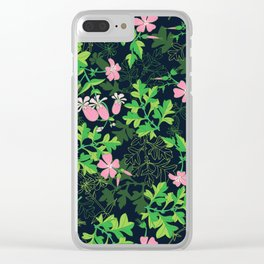 Forest Wildflowers / Dark Background Clear iPhone Case