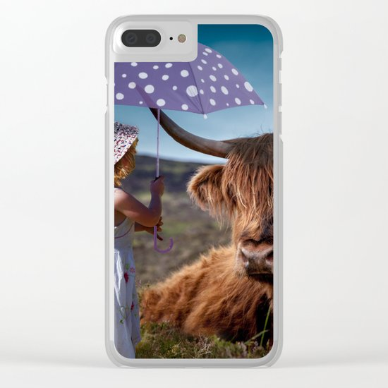 Young Child with Cow Clear iPhone Case