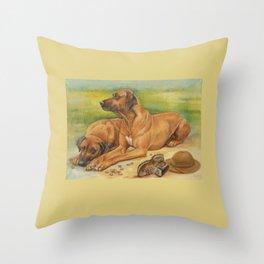 Rhodesian Ridgeback Dog portrait in scenic landscape Painting Throw Pillow