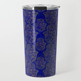 Hamsa Hand pattern - gold on lapis lazuli Travel Mug