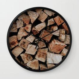 Chopped Firewood Stack Wall Clock