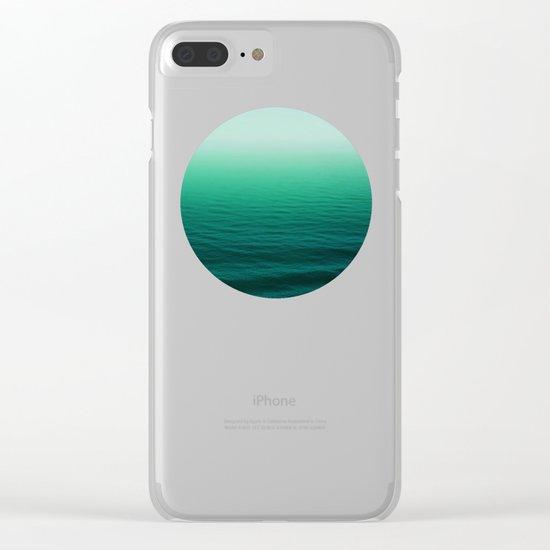 Deep Aqua Waves Clear iPhone Case