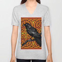 Tan Color Celtic Design & Black Crow Art Unisex V-Neck