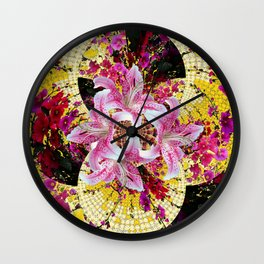 ABSTRACTED FUCHSIA-PINK LILY & HOLLYHOCKS GARDEN Wall Clock