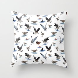 Seagulls and ducks. Throw Pillow