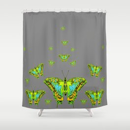 BLUE-GREEN-YELLOW PATTERNED MOTHS ON GREY Shower Curtain