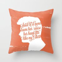 liam payne Throw Pillows featuring Liam Payne Silhouette   by Holly Ent