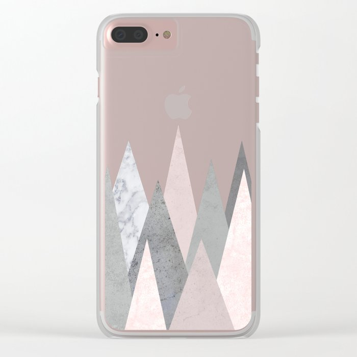 BLUSH MARBLE GRAY GEOMETRIC MOUNTAINS Clear iPhone Case