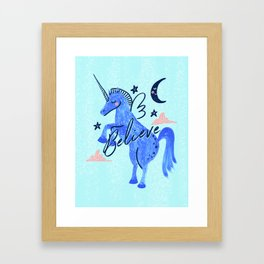 Night Sky Unicorn - Stars and Moon Framed Art Print
