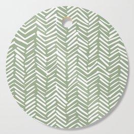 Boho Herringbone Pattern, Sage Green and White Cutting Board