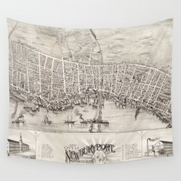 Vintage Pictorial Map of Newburyport MA (1894) Wall Tapestry