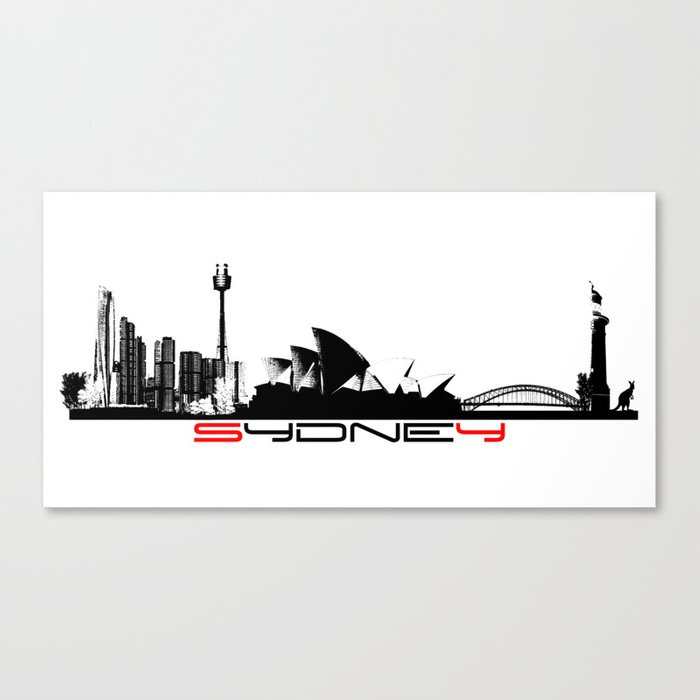 Sydney skyline black Canvas Print