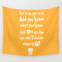 dr seuss Wall Tapestries featuring dr seuss: you're on your way by studiomarshallarts