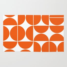 Mid Century Modern Geometric 04 Orange Rug