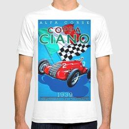 1939 Italian Grand Prix Motor Racing Coppa Ciano Alfa Corse Vintage Poster T-shirt
