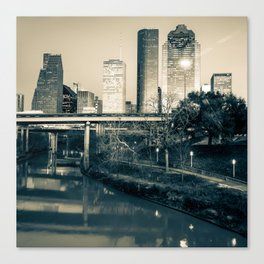 Houston Skyline Over the Buffalo Bayou - 1x1 Sepia Canvas Print