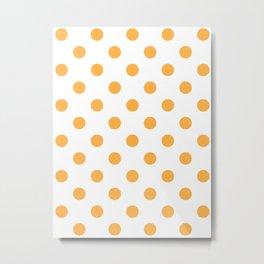Polka Dots - Pastel Orange on White Metal Print