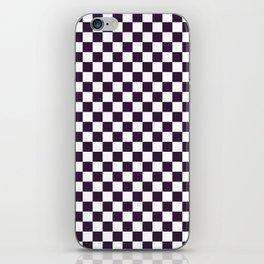 Small Checkered - White and Dark Purple iPhone Skin