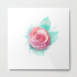 Watercolor Rose Metal Print