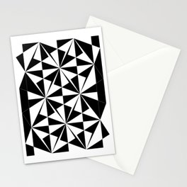 Black White Triangle Pattern Stationery Cards