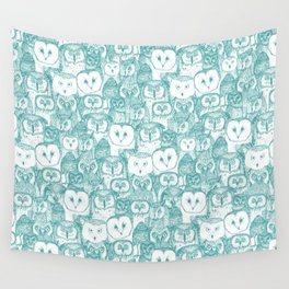 just owls teal blue Wall Tapestry