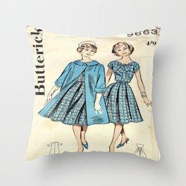 Retro Fashion Blue  Throw Pillow