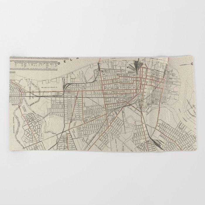 Vintage Map of Camden NJ (1921) Beach Towel by vuramedia on