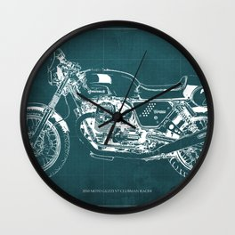 2010 Moto Guzzi V7 Clubman Racer green blueprint Wall Clock