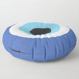 Blue Evil Eye Symbol Lucky Charm Black Background Floor Pillow
