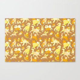 Dogs In Sweaters (Brown) Canvas Print