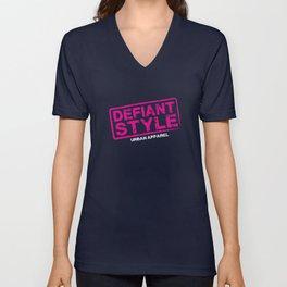 Defiant Style Logo [Pink/White] Unisex V-Neck