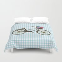 bike Duvet Covers featuring Bike by Juliana Zimmermann