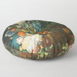 Still Life with Flowers and Fruit - Jan van Huysum Floor Pillow