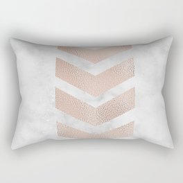 Rose gold chevrons on marble Rectangular Pillow