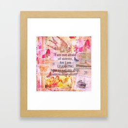 Louisa May Alcott inpirational STORM quote Framed Art Print