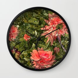 Pink flowers by Lika Ramati Wall Clock