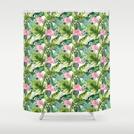 Let's Flamingle Watercolor Flamingo Flowers and Leaves Shower Curtain