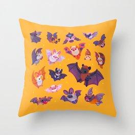 Bat - yellow Throw Pillow