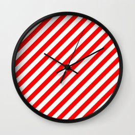Australian Flag Red and White Candy Cane Diagonal Stripes Wall Clock