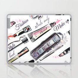 Fashion pattern with cosmetic in watercolor style Laptop & iPad Skin