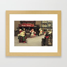 Santa Checking his List Framed Art Print