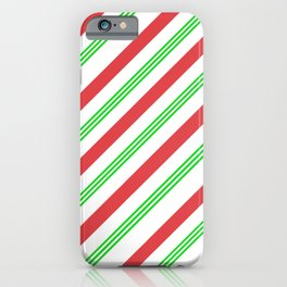 Red and Green Candy Cane Stripes iPhone Case