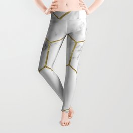 Gold marble hexagon pattern Leggings