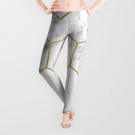 Gold marble hexagon pattern Leggings