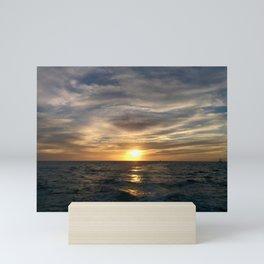 Sunset   Waves of the Sea   Clouds Mini Art Print