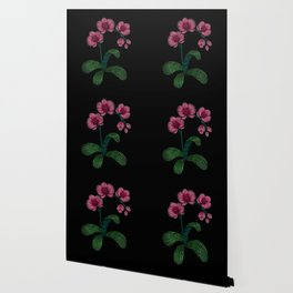 Embroidered Flowers on Black 01 Wallpaper