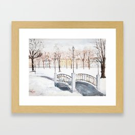 Locks on Little Lovers Bridge Framed Art Print