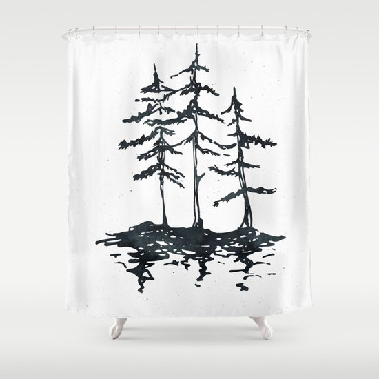 the three sisters black and white shower curtain