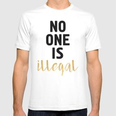 NO ONE IS ILLEGAL Mens Fitted Tee MEDIUM White