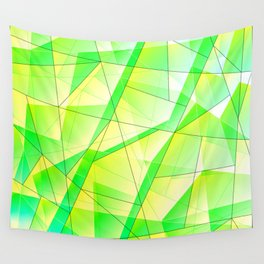 Bright bright fragments of crystals on irregularly shaped green and yellow triangles. Wall Tapestry